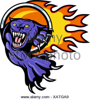 Panther attacking with ring of fire - Stock Photo