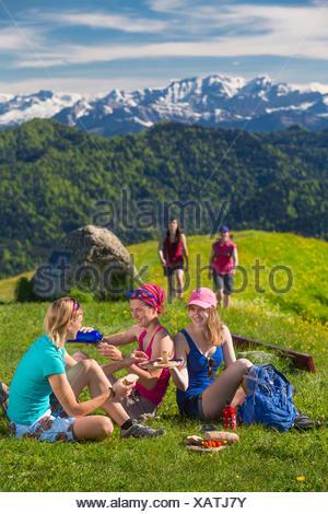 Zurich uplands, walking, hiking, Hörnli, Alps, mountain, mountains, group, footpath, group, women, canton Zurich, Switzerland, E - Stock Photo