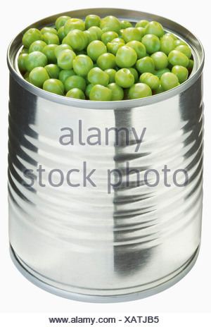 Peas in can against white background, close up - Stock Photo