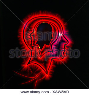 Photo illustration of head with red glow. - Stock Photo