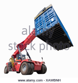 Mobile crane lifting cargo container - Stock Photo