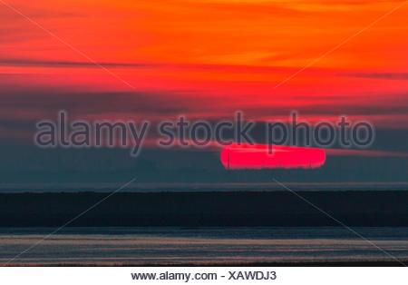 sunrise near island Juist, Germany, Lower Saxony, Juist - Stock Photo