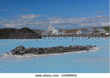 geothermal spa Blue Lagoon, Iceland, Reykjanes Peninsula, Blue Lagoon, Grindavik - Stock Photo