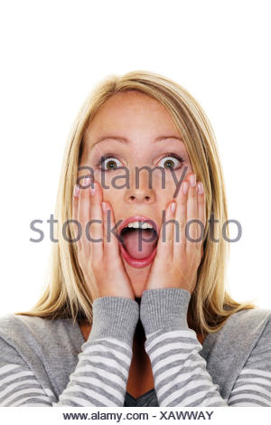 young blond stunned woman - Stock Photo