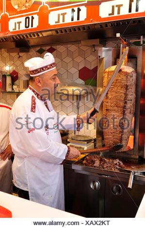 doner maker in Asmaalti Carsi or Main Market area of Istanbul, Turkey - Stock Photo