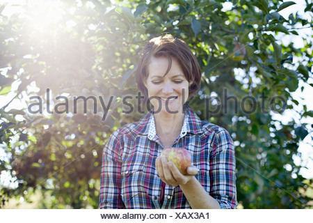 Woodstock New York USA woman in plaid shirt holding apple organic orchard - Stock Photo