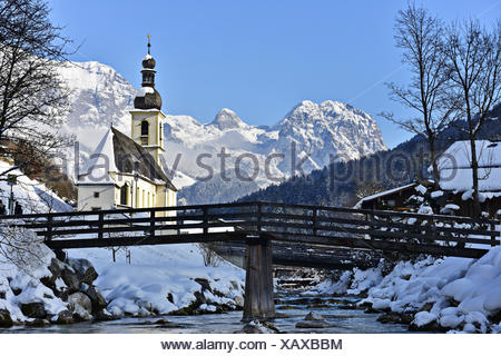Church St Sebastian in Ramsau - Stock Photo