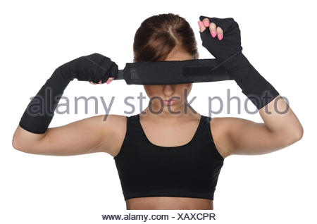 Woman Covering Her Eyes Boxing Bandages Stock Photo