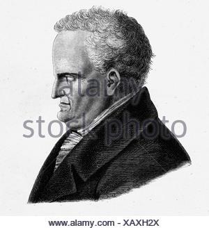 Johann Wolfgang von Goethe (1749-1832), poet, drawing by Heideloff 1831 - Stock Photo