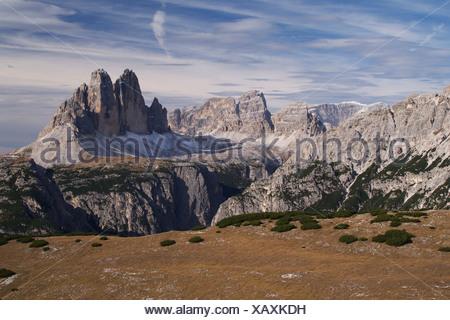 Mt. Zwoelferkofel seen from Mt. Strudelkopf, Dolomites, South Tyrol, Italy, Europe - Stock Photo