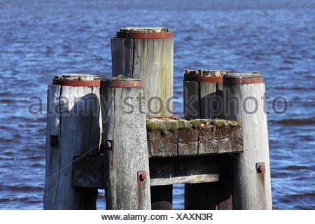 bollard in industrial port - Stock Photo