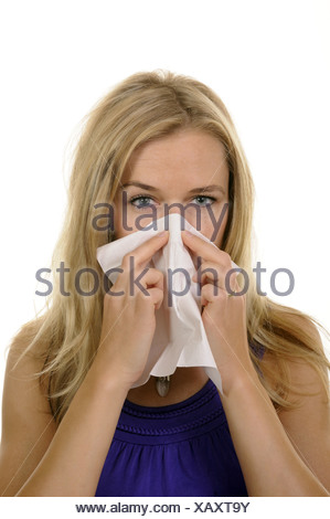 young woman with handkerchief - Stock Photo