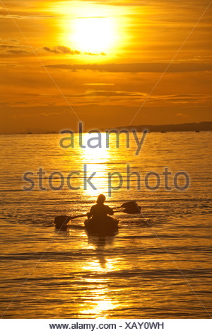 Switzerland, Europe, sundown, sunset, canoe, paddle boat, lake Constance, lake, - Stock Photo