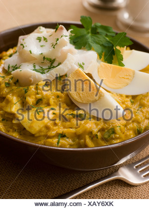 Bowl of Smoked Haddock Kedgeree - Stock Photo