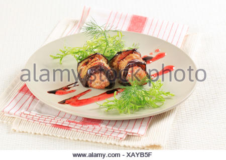 Meatballs wrapped in eggplant - Stock Photo