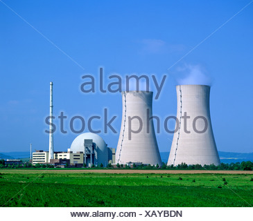 Cooling towers, Grohnde Nuclear Power Plant, Emmerthal, Hameln, Lower Saxony, Germany, Europe - Stock Photo