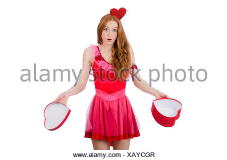 Pretty young model in mini pink dress holding gift box isolated on white - Stock Photo