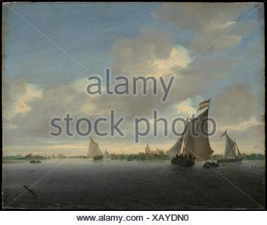 Marine. Artist: Salomon van Ruysdael (Dutch, Naarden, born ca. 1600-1603, died 1670 Haarlem); Date: 1650; Medium: Oil on wood; Dimensions: 13 5/8 x - Stock Photo