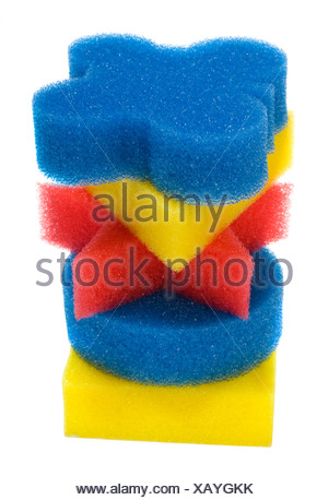 Close-up of a stack of bath sponges - Stock Photo