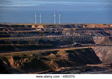 Mining area Garzweiler, lignite, opencast mining with wind turbines, Garzweiler, Jüchen, North Rhine-Westphalia, Germany - Stock Photo