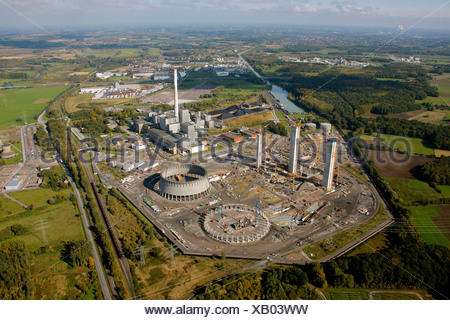 Aerial photograph, coal-fired power station, construction of Kraftwerk Westfalen power station, Uentrop, Hamm, Ruhr district, N - Stock Photo
