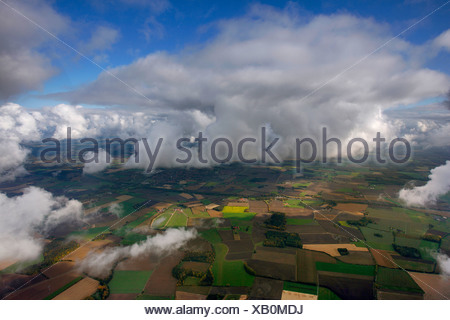 Aerial photograph, cumulus clouds over Hamm, Ruhr district, North Rhine-Westphalia, Germany, Europe - Stock Photo