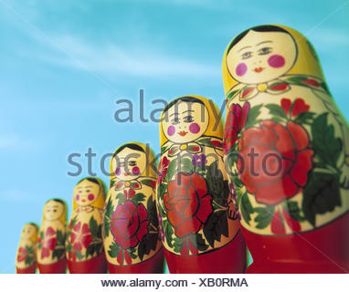 Matroschka, wooden figures, size, passed away, Matrjoschka, doll, wooden doll, toys, folk art, in Russian, souvenir, comparison, size, size comparison, difference, differently, product photography, Still life - Stock Photo
