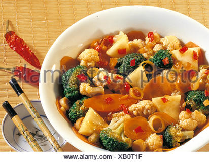 Mixed vegetables with pineapple, Thailand, recipe available for a fee - Stock Photo