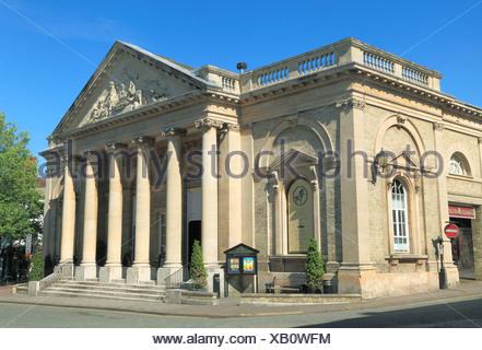 Bury St. Edmunds, Corn Exchange Pediment, Victorian Classical style, Suffolk, England UK - Stock Photo
