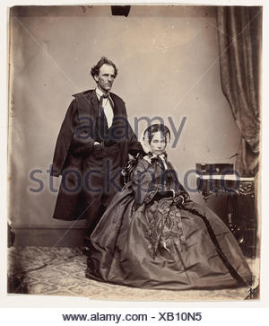 [Senator and Mrs. James Henry Lane]. Photography Studio: Brady & Co. (American, active 1840s-1880s); Date: 1861-66; Medium: Albumen silver print from - Stock Photo