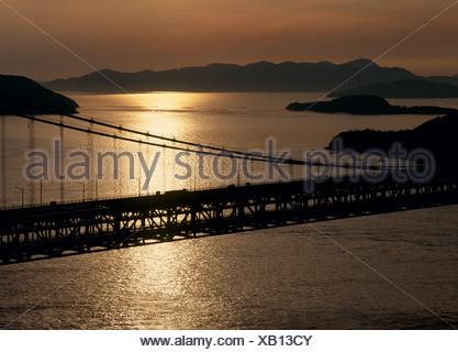 Seto-Ohashi Bridge, Kurashiki, Japan - Stock Photo