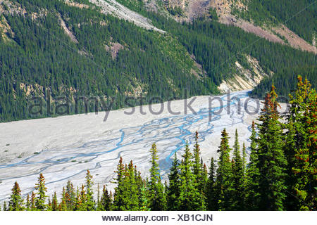 glacier at Lake Peyto , Canada, Alberta, Banff National Park - Stock Photo