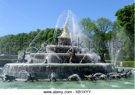 Latona Fountain, created in 1883 by Johann Nepomuk Hauptmann, Herrenchiemsee, Lake Chiemsee, Upper Bavaria, Bavaria - Stock Photo