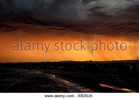 Lightning over Kirra, Gold Coast, queensland, Australia - Stock Photo