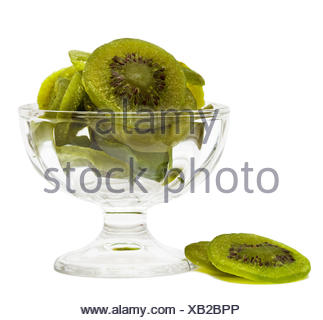pieces of dried kiwi isolated on white background - Stock Photo