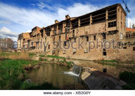stone, bridge, spain, roman, old, barcelona, river, water, vic, catalonia, - Stock Photo