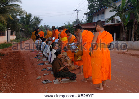 Buddhist monks getting rice at the morning alms-dealing, Wat Nakhoun Noi, Vientiane Province, Laos, Southeast Asia - Stock Photo
