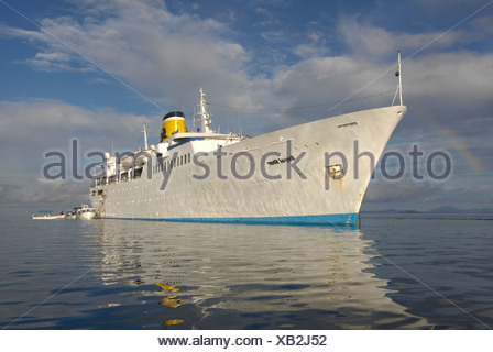 transport / transportation, navigation, cruise ship MS Royal Star, built: 1956, lying at Nosy Be, Madagascar, Additional-Rights-Clearance-Info-Not-Available - Stock Photo