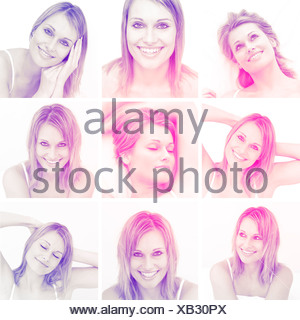 Collage of attractive blonde woman gesturing - Stock Photo