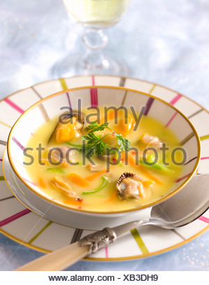 Clams Soup in Cari Sauce - Stock Photo