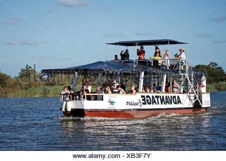 Tourists on an excursion boat, Kwazulu Natal, St. Lucia Wetland Park, South Africa, Africa