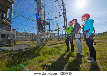 Four people wearing climbing helmets on high rope course - Stock Photo