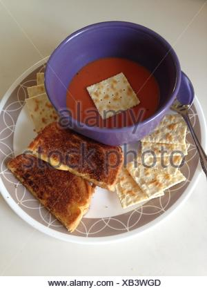 Tomato Soup & Grilled Cheese Sandwich - Stock Photo