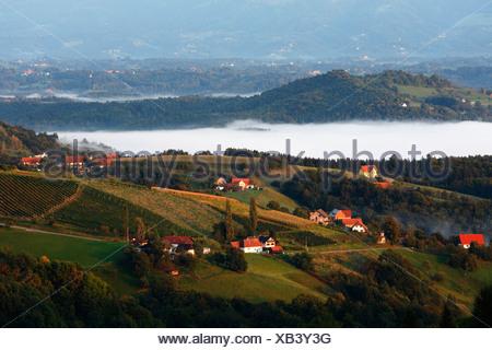 Kitzeck im Sausal, fog bank, Styria, Austria, Europe - Stock Photo