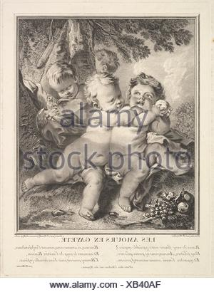 The Cheerful Cupids. Artist: Jean Daullé (French, Abbeville 1703-1763 Paris); Artist: After François Boucher (French, Paris 1703-1770 Paris); Date: - Stock Photo