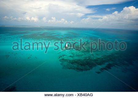 Aerial view Alligator Reef Light near Indian Key, Florida - Stock Photo