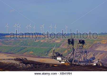 wind energy, surface mining, ecology, wind engine, pit, lignite open-cast - Stock Photo
