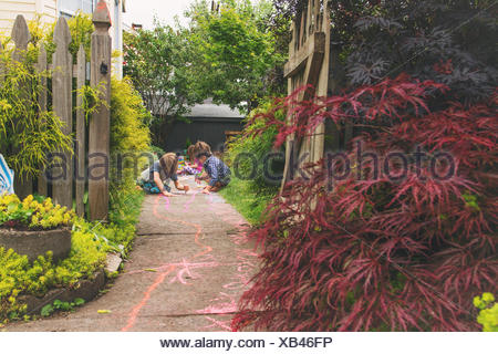 Three young children drawing with chalk on a path in a garden - Stock Photo