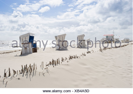 Roofed wicker beach chairs, Westerland, Sylt, Schleswig-Holstein, Germany, Europe - Stock Photo