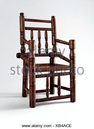Turned armchair. Date: 1665-90; Geography: Probably made in New York, New York, United States; Culture: American; Medium: Ash; Dimensions: 39 1/2 x - Stock Photo